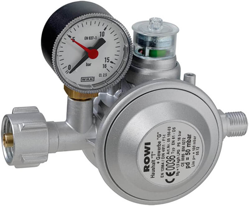 Gasdruckregler 50 mbar mit doppelter Überdrucksicherung