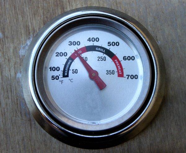 Gasgrill Temperatur auf Thermometer